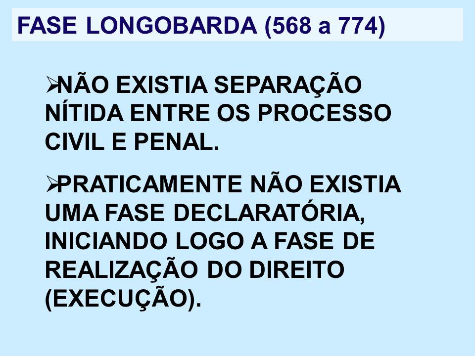 FASE LONGOBARDA (568 a 774)NÃO EXISTIA SEPARAÇÃO NÍTIDA ENTRE OS PROCESSO CIVIL E PENAL.