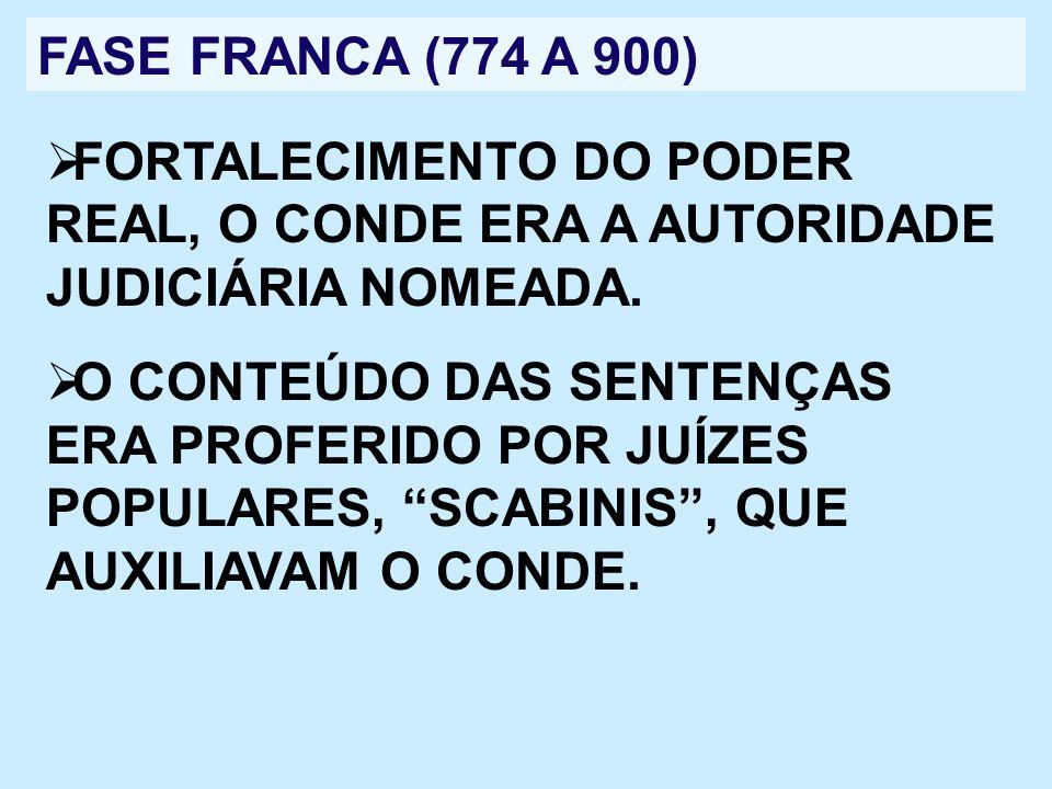 FASE FRANCA (774 A 900)FORTALECIMENTO DO PODER REAL, O CONDE ERA A AUTORIDADE JUDICIÁRIA NOMEADA.