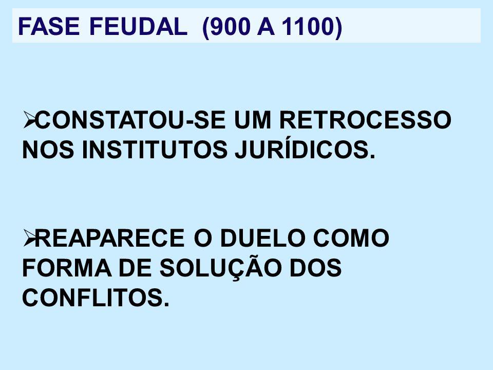 FASE FEUDAL (900 A 1100)CONSTATOU-SE UM RETROCESSO NOS INSTITUTOS JURÍDICOS.
