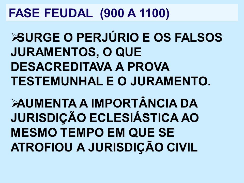 FASE FEUDAL (900 A 1100)SURGE O PERJÚRIO E OS FALSOS JURAMENTOS, O QUE DESACREDITAVA A PROVA TESTEMUNHAL E O JURAMENTO.