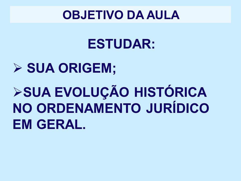 SUA EVOLUÇÃO HISTÓRICA NO ORDENAMENTO JURÍDICO EM GERAL.