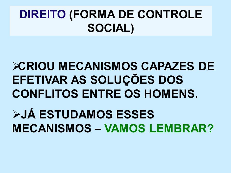 DIREITO (FORMA DE CONTROLE SOCIAL)