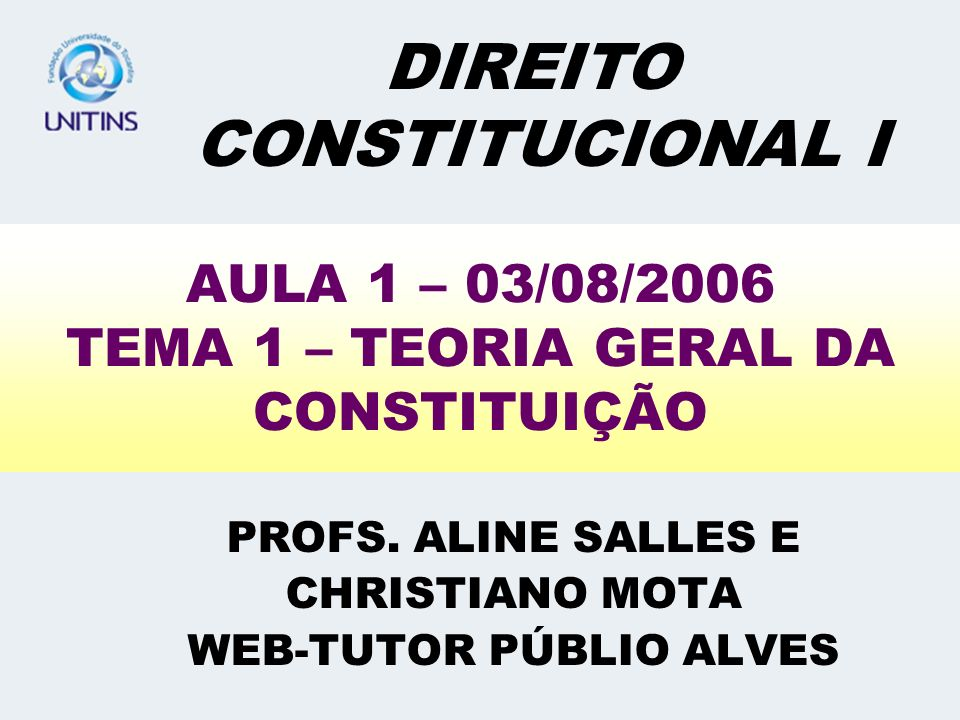 AULA 1 – 03/08/2006 TEMA 1 – TEORIA GERAL DA CONSTITUIÇÃO