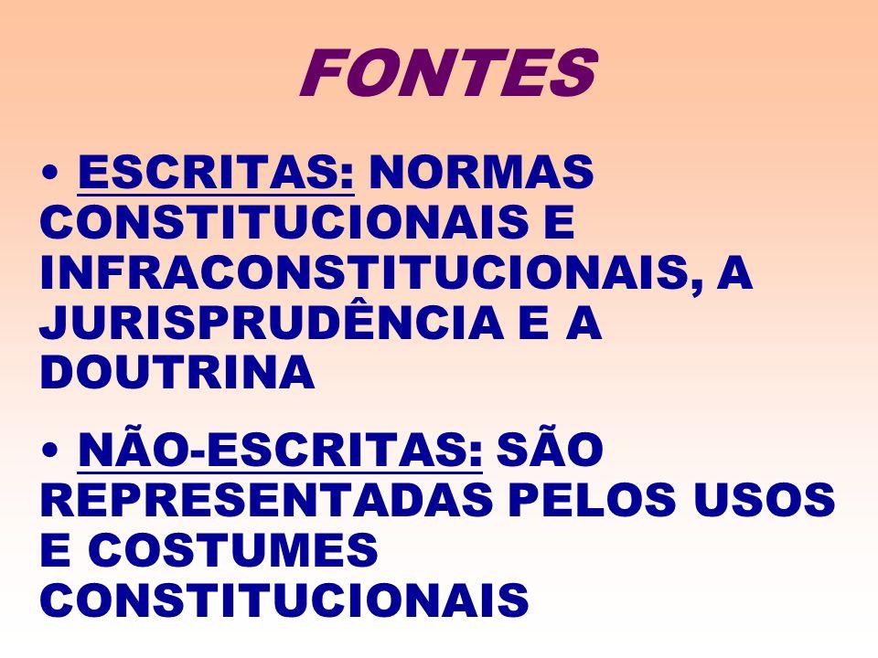 FONTES ESCRITAS: NORMAS CONSTITUCIONAIS E INFRACONSTITUCIONAIS, A JURISPRUDÊNCIA E A DOUTRINA.