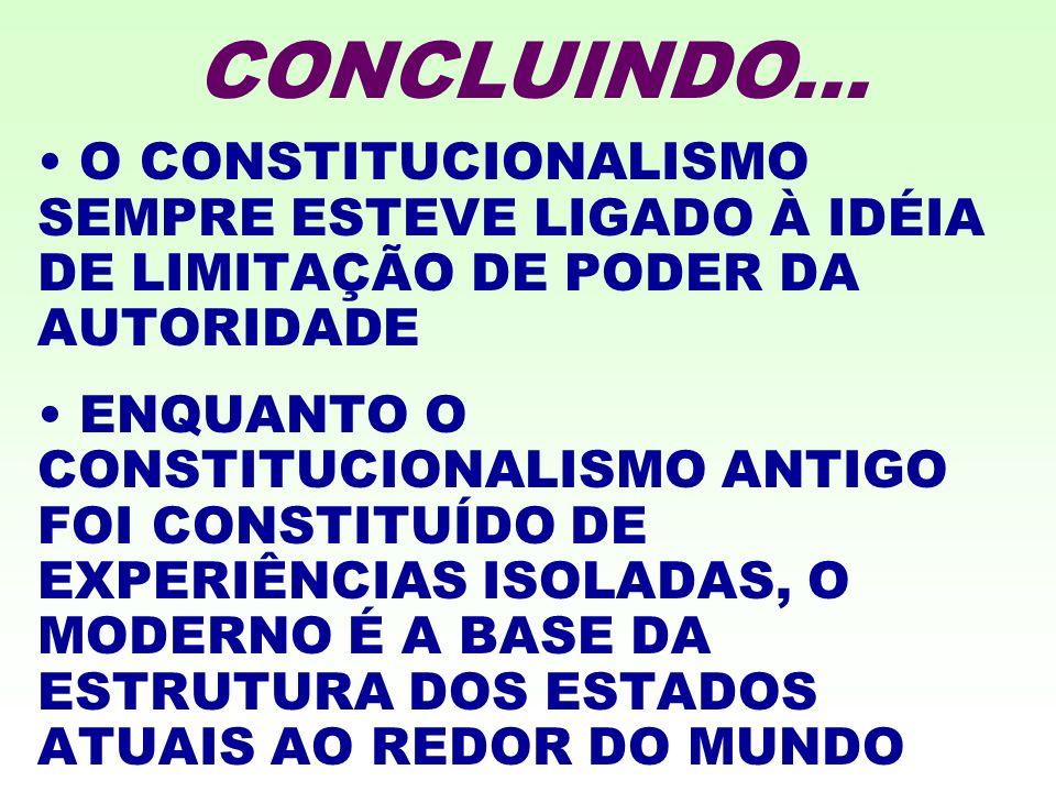 CONCLUINDO... O CONSTITUCIONALISMO SEMPRE ESTEVE LIGADO À IDÉIA DE LIMITAÇÃO DE PODER DA AUTORIDADE.