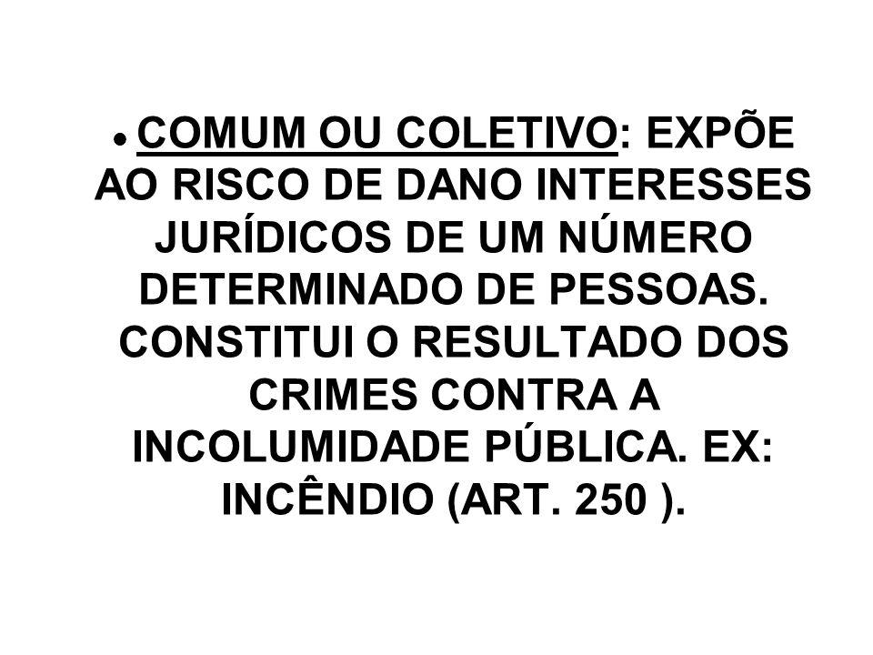COMUM OU COLETIVO: EXPÕE AO RISCO DE DANO INTERESSES JURÍDICOS DE UM NÚMERO DETERMINADO DE PESSOAS.