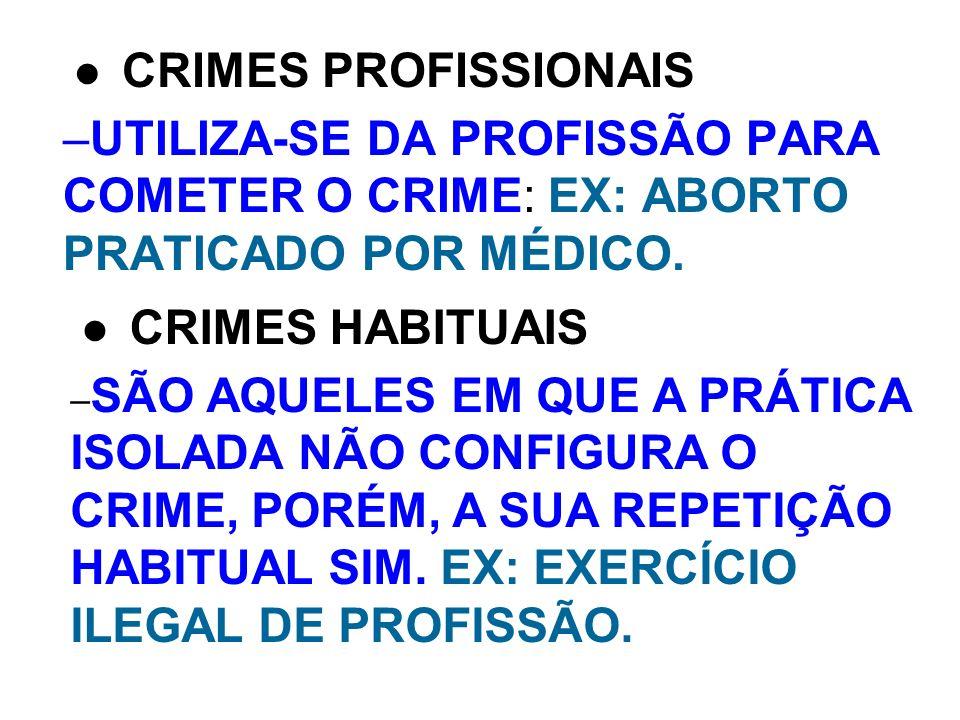 CRIMES PROFISSIONAIS UTILIZA-SE DA PROFISSÃO PARA COMETER O CRIME: EX: ABORTO PRATICADO POR MÉDICO.