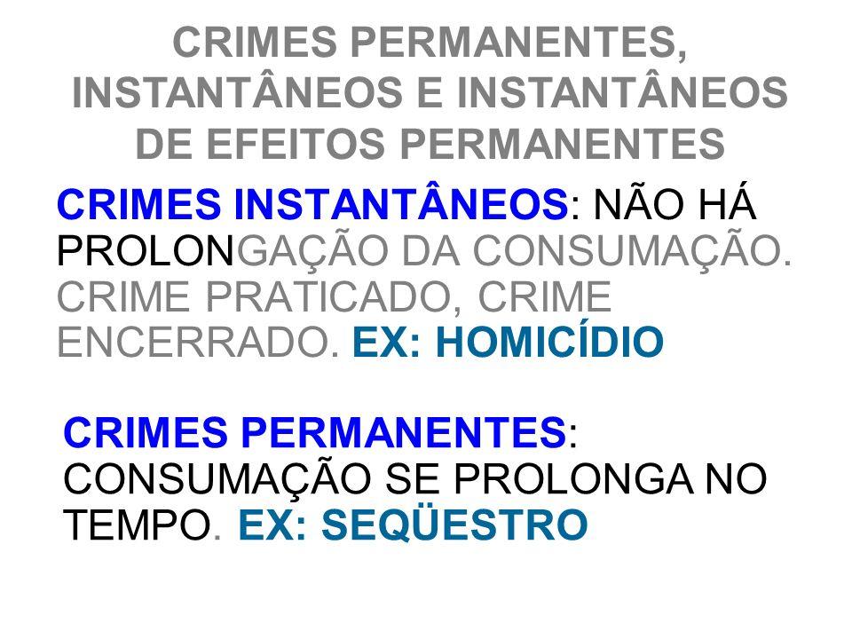 CRIMES PERMANENTES, INSTANTÂNEOS E INSTANTÂNEOS DE EFEITOS PERMANENTES