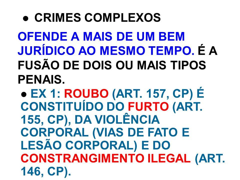 CRIMES COMPLEXOS OFENDE A MAIS DE UM BEM JURÍDICO AO MESMO TEMPO. É A FUSÃO DE DOIS OU MAIS TIPOS PENAIS.