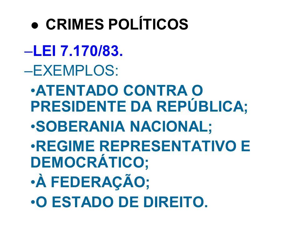 CRIMES POLÍTICOSLEI 7.170/83. EXEMPLOS: ATENTADO CONTRA O PRESIDENTE DA REPÚBLICA; SOBERANIA NACIONAL;