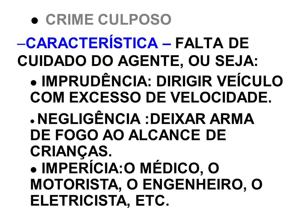 CARACTERÍSTICA – FALTA DE CUIDADO DO AGENTE, OU SEJA: