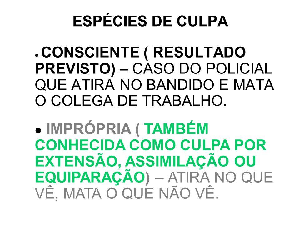 ESPÉCIES DE CULPACONSCIENTE ( RESULTADO PREVISTO) – CASO DO POLICIAL QUE ATIRA NO BANDIDO E MATA O COLEGA DE TRABALHO.