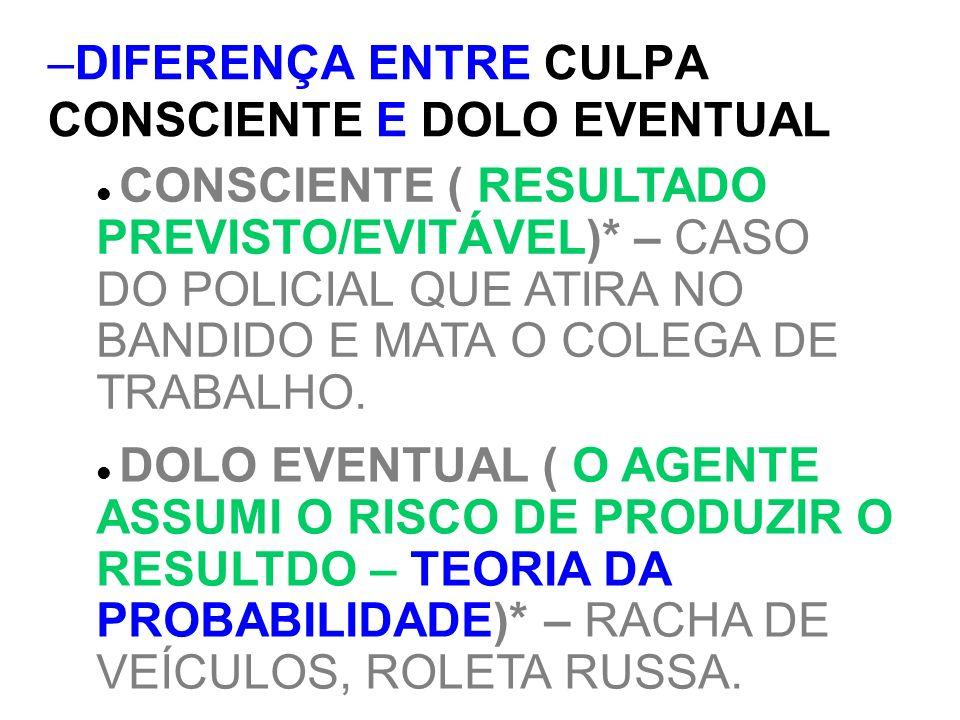 DIFERENÇA ENTRE CULPA CONSCIENTE E DOLO EVENTUAL