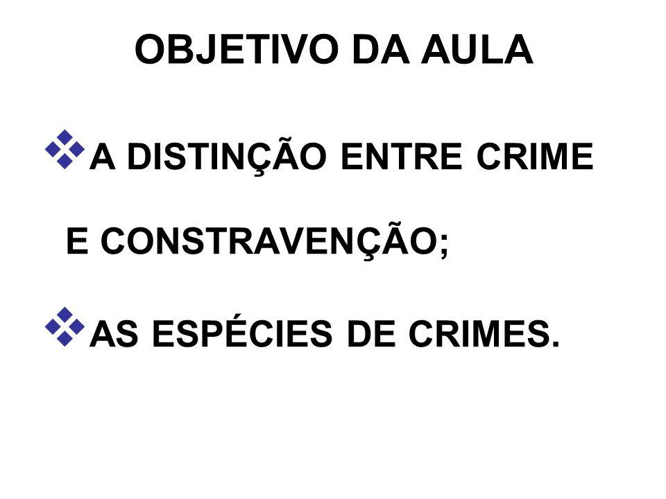 OBJETIVO DA AULA A DISTINÇÃO ENTRE CRIME E CONSTRAVENÇÃO;