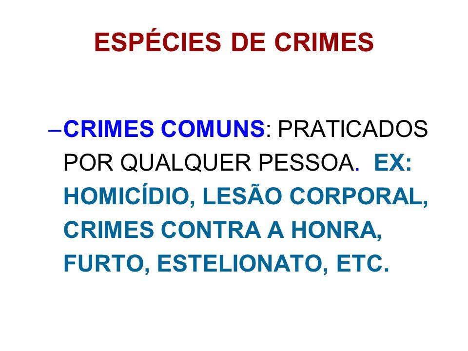 ESPÉCIES DE CRIMES CRIMES COMUNS: PRATICADOS POR QUALQUER PESSOA.
