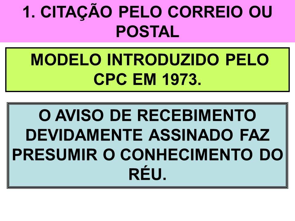 1. CITAÇÃO PELO CORREIO OU POSTAL MODELO INTRODUZIDO PELO CPC EM 1973.
