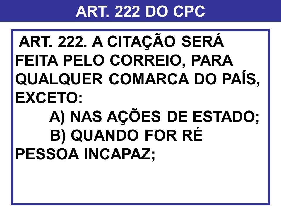 ART. 222 DO CPC ART. 222. A CITAÇÃO SERÁ FEITA PELO CORREIO, PARA QUALQUER COMARCA DO PAÍS, EXCETO: