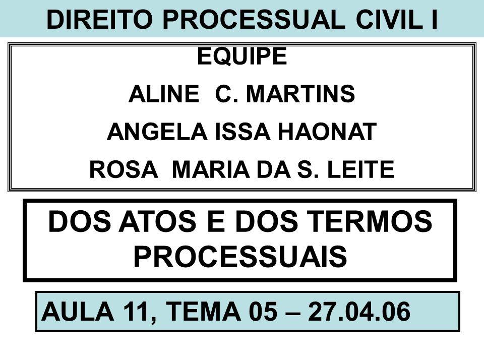 DIREITO PROCESSUAL CIVIL I DOS ATOS E DOS TERMOS PROCESSUAIS