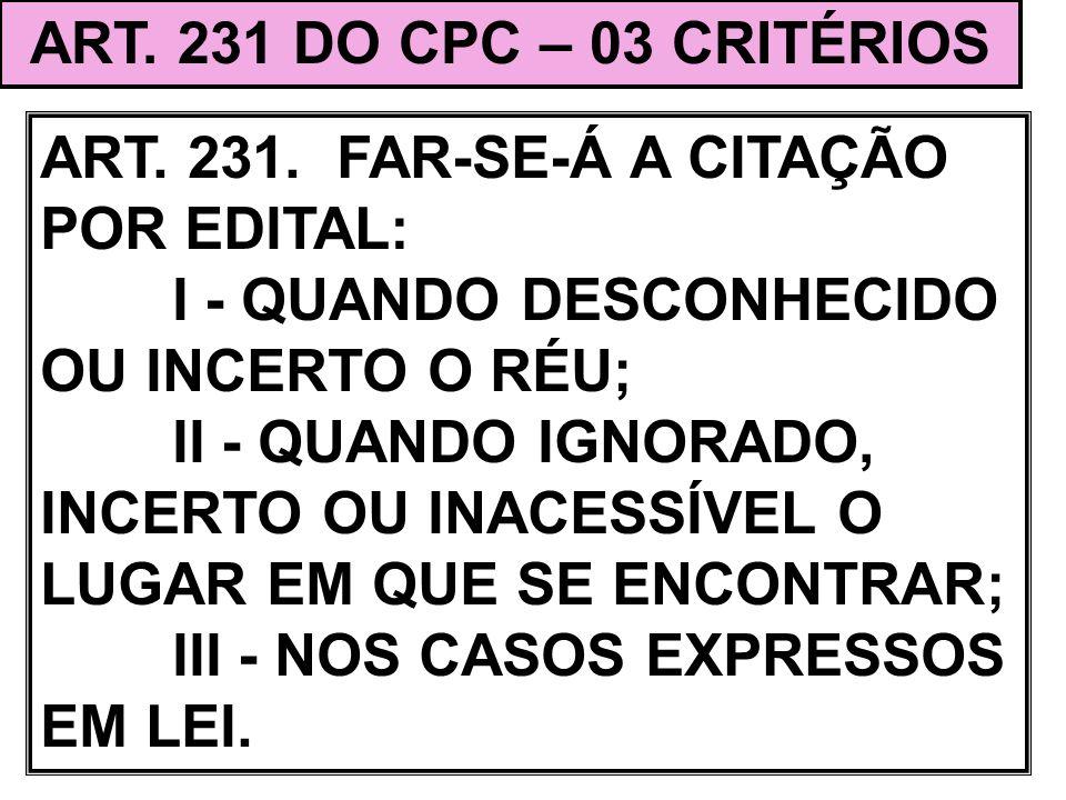ART. 231 DO CPC – 03 CRITÉRIOS ART. 231. FAR-SE-Á A CITAÇÃO POR EDITAL: I - QUANDO DESCONHECIDO OU INCERTO O RÉU;
