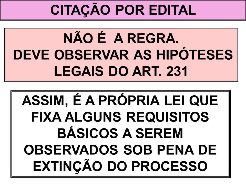 DEVE OBSERVAR AS HIPÓTESES LEGAIS DO ART. 231