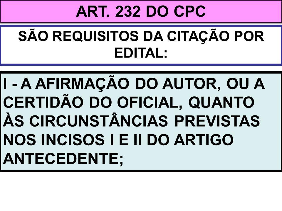 SÃO REQUISITOS DA CITAÇÃO POR EDITAL: