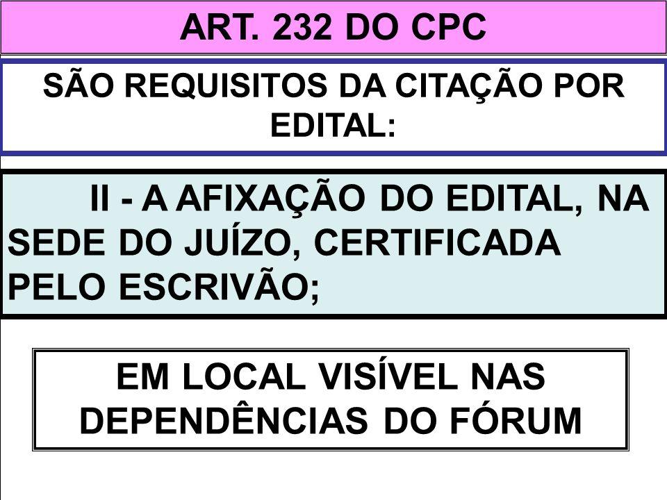 ART. 232 DO CPC EM LOCAL VISÍVEL NAS DEPENDÊNCIAS DO FÓRUM