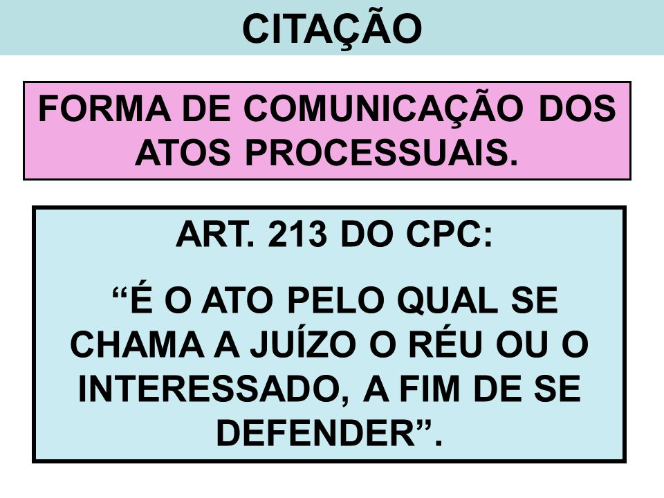 FORMA DE COMUNICAÇÃO DOS ATOS PROCESSUAIS.