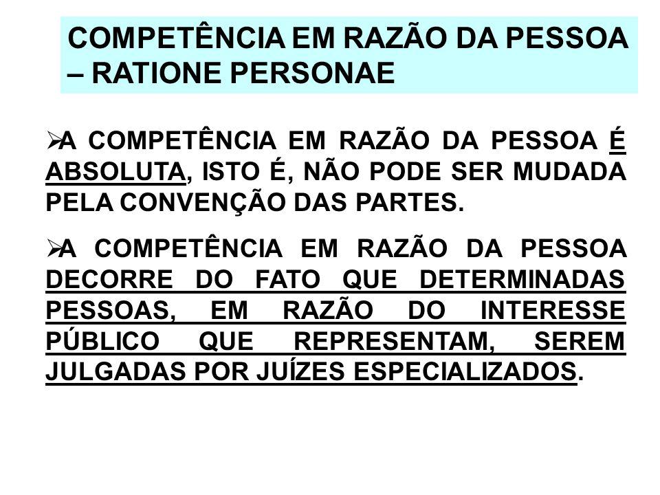 COMPETÊNCIA EM RAZÃO DA PESSOA – RATIONE PERSONAE