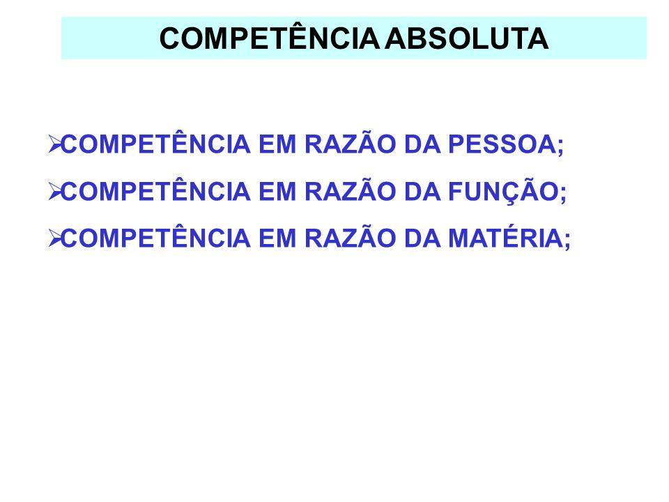 COMPETÊNCIA ABSOLUTA COMPETÊNCIA EM RAZÃO DA PESSOA;