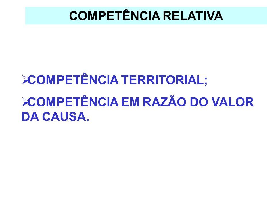 COMPETÊNCIA RELATIVA COMPETÊNCIA TERRITORIAL; COMPETÊNCIA EM RAZÃO DO VALOR DA CAUSA.