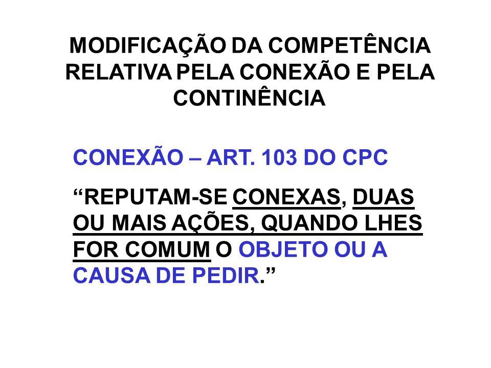 MODIFICAÇÃO DA COMPETÊNCIA RELATIVA PELA CONEXÃO E PELA CONTINÊNCIA