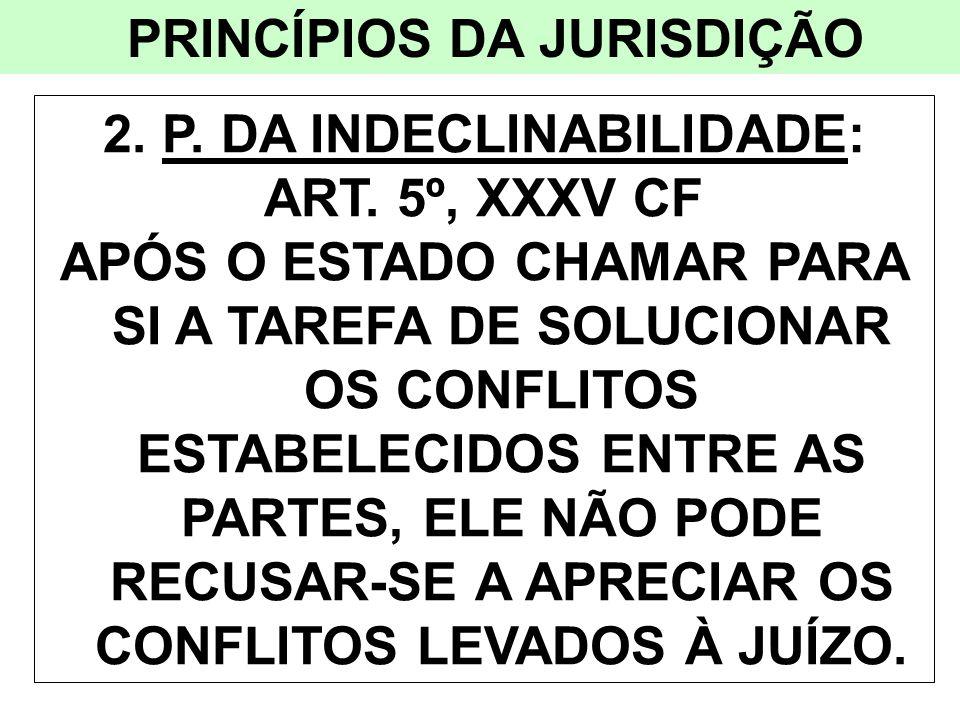 PRINCÍPIOS DA JURISDIÇÃO 2. P. DA INDECLINABILIDADE: