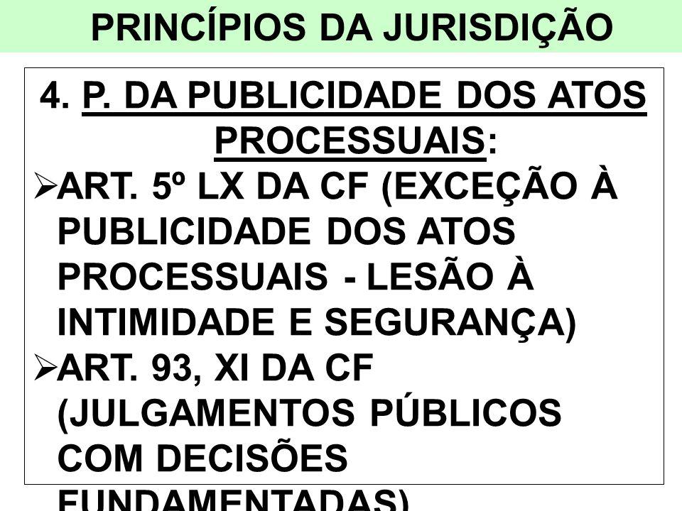 PRINCÍPIOS DA JURISDIÇÃO 4. P. DA PUBLICIDADE DOS ATOS PROCESSUAIS:
