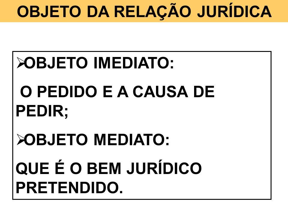 OBJETO DA RELAÇÃO JURÍDICA