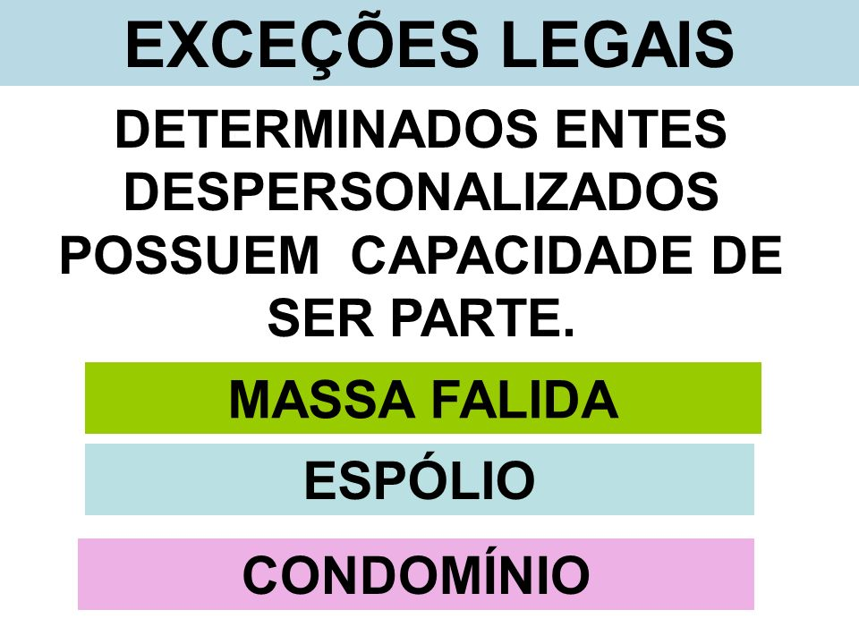 DETERMINADOS ENTES DESPERSONALIZADOS POSSUEM CAPACIDADE DE SER PARTE.