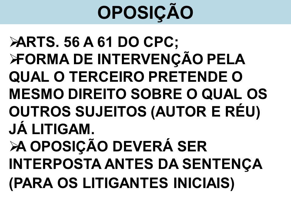 OPOSIÇÃOARTS. 56 A 61 DO CPC;