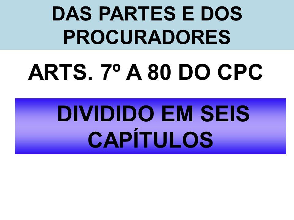 DAS PARTES E DOS PROCURADORES DIVIDIDO EM SEIS CAPÍTULOS