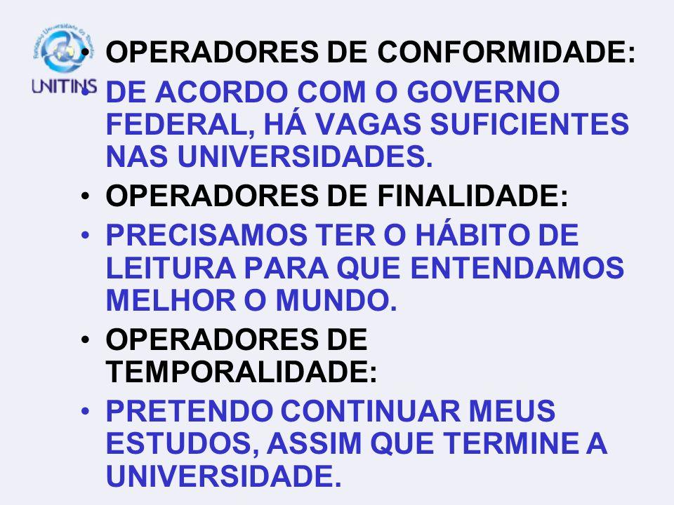 OPERADORES DE CONFORMIDADE: