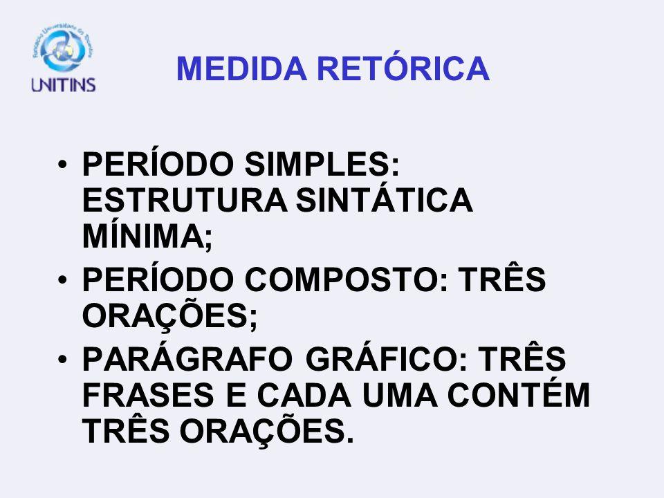 MEDIDA RETÓRICA PERÍODO SIMPLES: ESTRUTURA SINTÁTICA MÍNIMA; PERÍODO COMPOSTO: TRÊS ORAÇÕES;