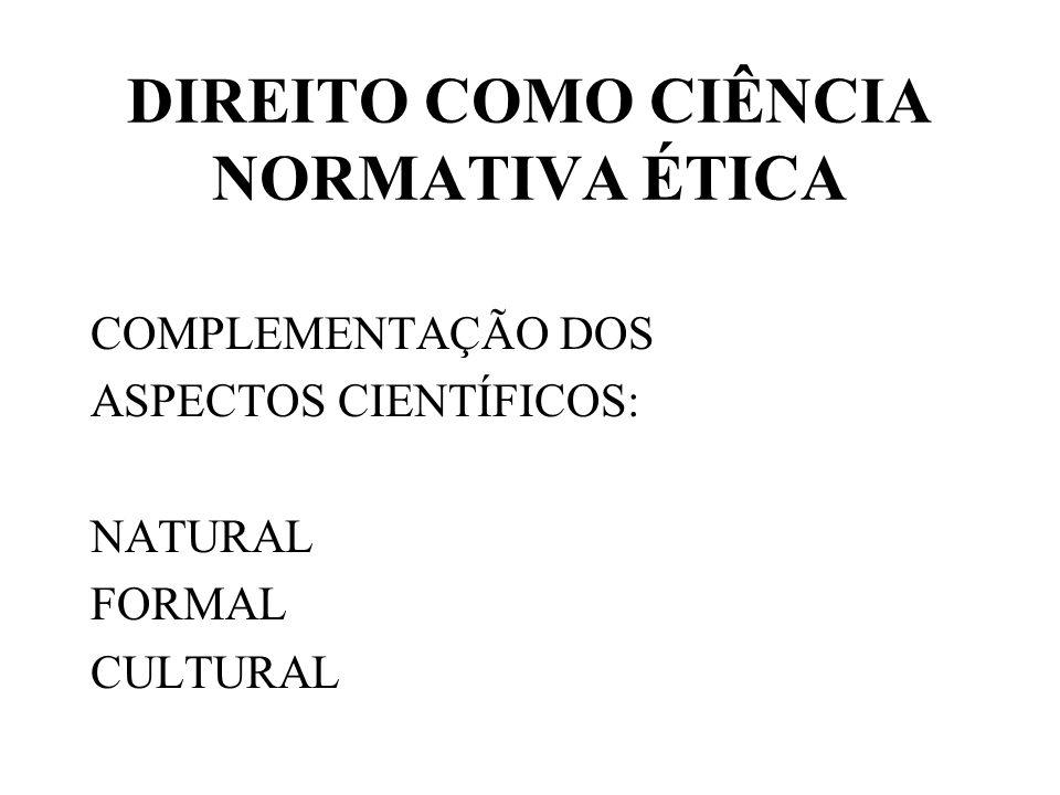 DIREITO COMO CIÊNCIA NORMATIVA ÉTICA