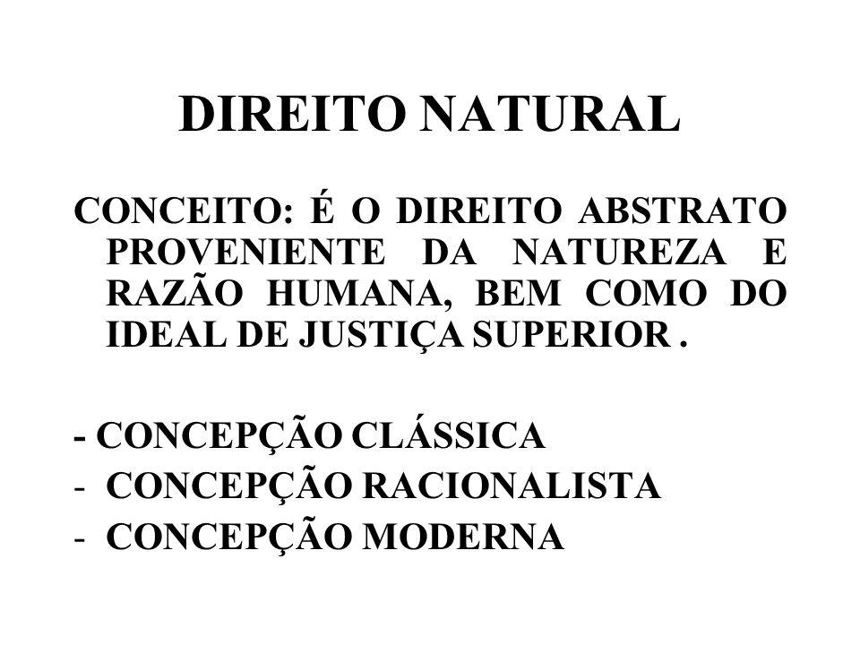 DIREITO NATURAL CONCEITO: É O DIREITO ABSTRATO PROVENIENTE DA NATUREZA E RAZÃO HUMANA, BEM COMO DO IDEAL DE JUSTIÇA SUPERIOR .