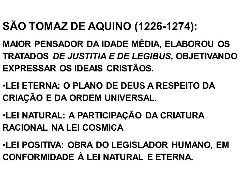SÃO TOMAZ DE AQUINO (1226-1274):