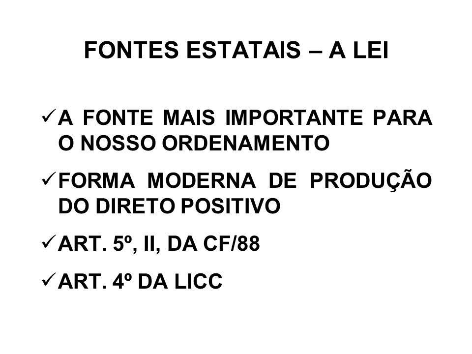 FONTES ESTATAIS – A LEI A FONTE MAIS IMPORTANTE PARA O NOSSO ORDENAMENTO. FORMA MODERNA DE PRODUÇÃO DO DIRETO POSITIVO.