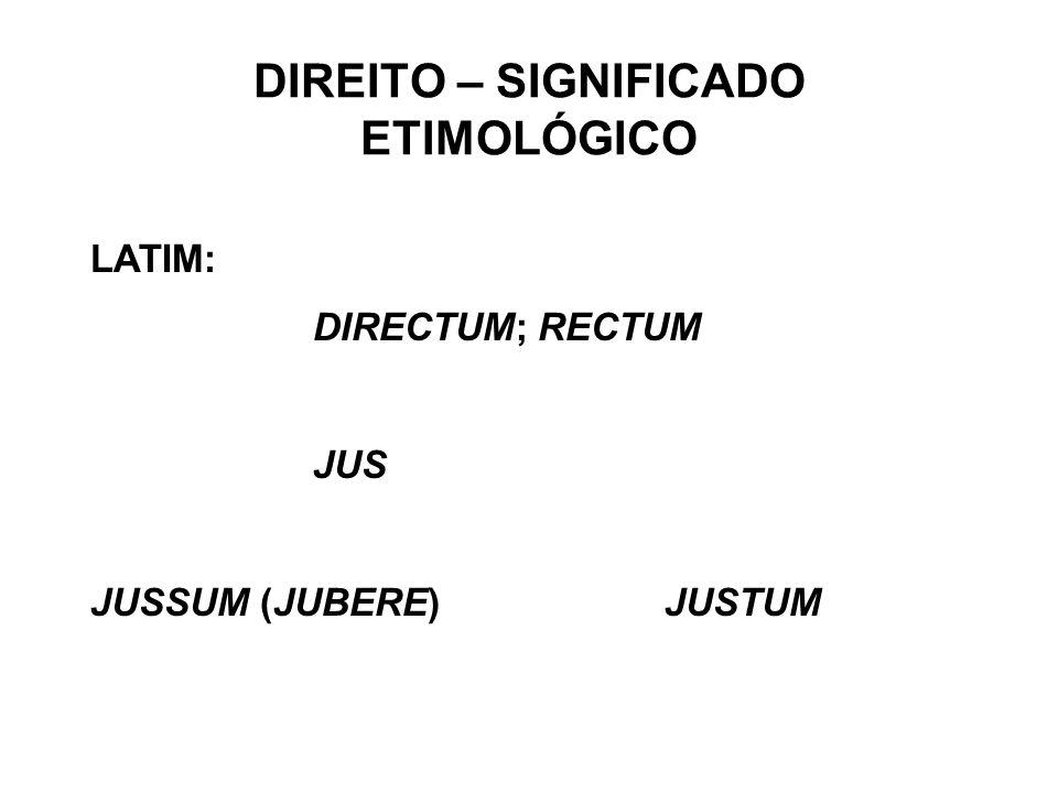 DIREITO – SIGNIFICADO ETIMOLÓGICO