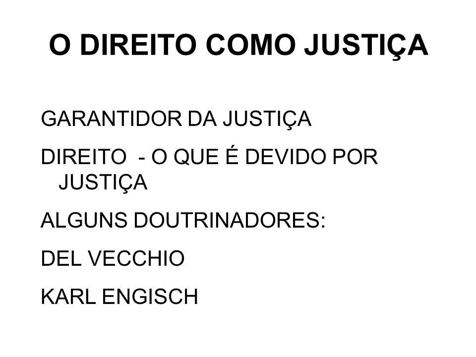 O DIREITO COMO JUSTIÇA GARANTIDOR DA JUSTIÇA
