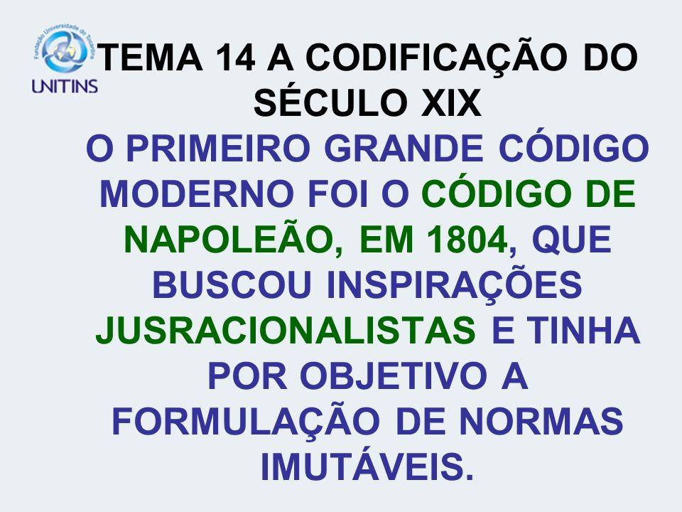 TEMA 14 A CODIFICAÇÃO DO SÉCULO XIX O PRIMEIRO GRANDE CÓDIGO MODERNO FOI O CÓDIGO DE NAPOLEÃO, EM 1804, QUE BUSCOU INSPIRAÇÕES JUSRACIONALISTAS E TINHA POR OBJETIVO A FORMULAÇÃO DE NORMAS IMUTÁVEIS.