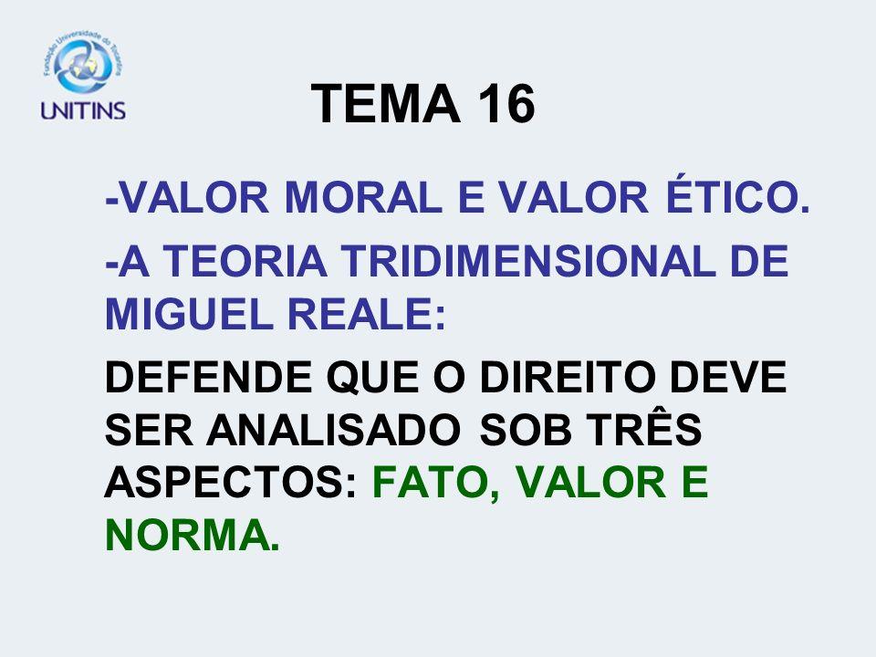TEMA 16 -VALOR MORAL E VALOR ÉTICO.