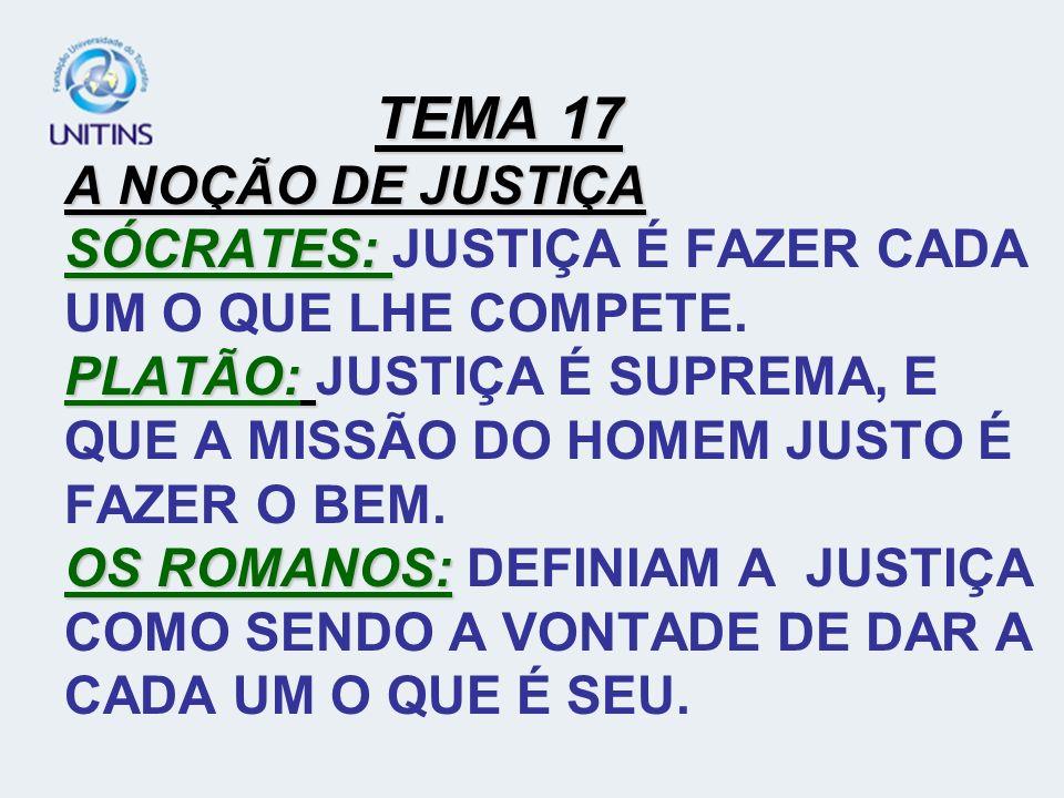 TEMA 17 A NOÇÃO DE JUSTIÇA SÓCRATES: JUSTIÇA É FAZER CADA UM O QUE LHE COMPETE.