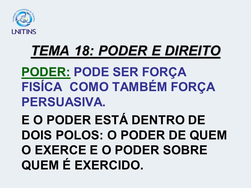 TEMA 18: PODER E DIREITO PODER: PODE SER FORÇA FISÍCA COMO TAMBÉM FORÇA PERSUASIVA.