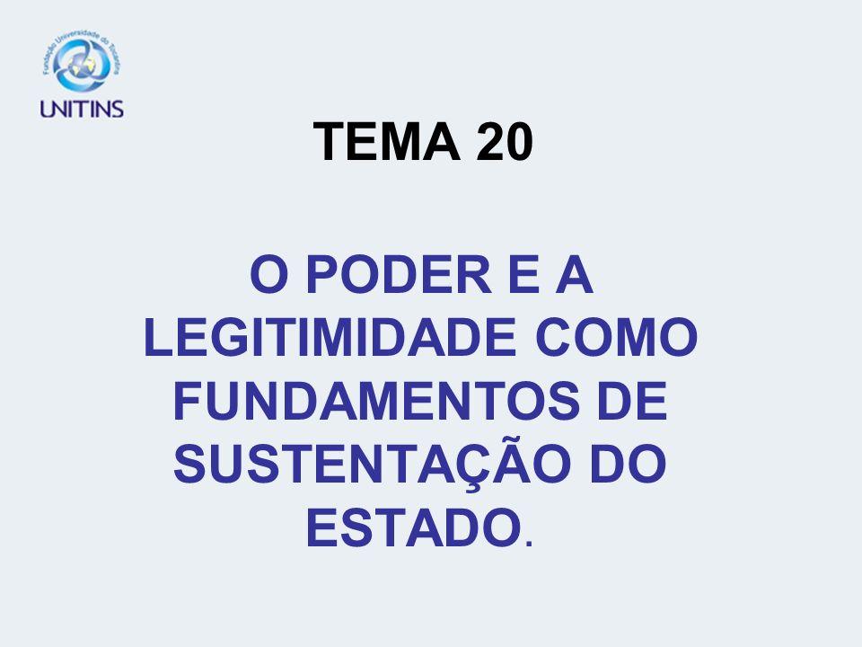 O PODER E A LEGITIMIDADE COMO FUNDAMENTOS DE SUSTENTAÇÃO DO ESTADO.